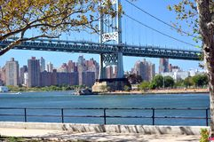 Manhattan view from Astoria Park. This picture is a Manhattan view from Astoria Park. It includes the John F. Kennedy bridge Stock Photo