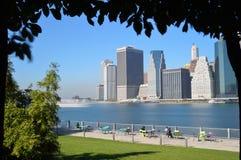 Manhattan. View of Manhattan from the Brooklyn Bridge Park Royalty Free Stock Image