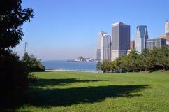 Manhattan. View of Manhattan from the Brooklyn Bridge Park Stock Photography