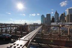 Manhattan view from Brooklyn bridge Stock Photography