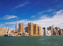 Manhattan. View of Manhattan with Empire State Building and Chrysler Building from East River Stock Photography