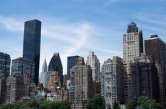 Manhattan view from Hudson river, New York City, USA Stock Photos