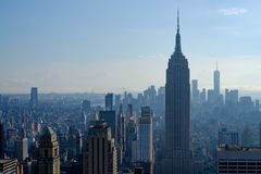 Empire state building and Manhattan Island stock image