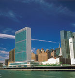 Manhattan. View of Manhattan with UN Headquarters Building from East River Stock Photos