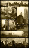 Manhattan views on grunge. Eight views of Manhattan in sepia color and low grunge background to give them a nostalgic aspect Royalty Free Stock Photography