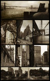 Manhattan views on grunge. Eight views of Manhattan in sepia color and low grunge background to give them a nostalgic aspect Stock Photos