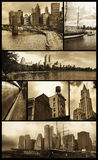 Manhattan views on grunge. Seven views of Manhattan in sepia color and low grunge background to give them a nostalgic aspect Royalty Free Stock Photos