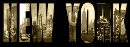 Manhattan views on New York. Seven views of Manhattan in sepia color and low grunge background on the text of New York Royalty Free Stock Photo