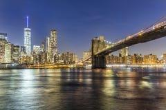 Manhattan waterfront at night royalty free stock photo