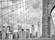 Manhattan widzieć od mosta brooklyńskiego, Nowy Jork Obrazy Stock