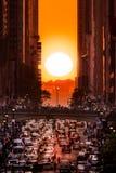 Manhattanhenge в Нью-Йорке Стоковые Изображения RF