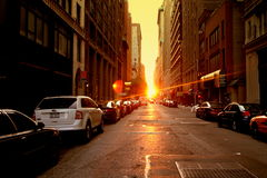 Manhattanhenge Fotografia de Stock Royalty Free