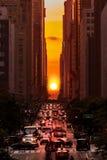 Manhattanhenge en New York City Imagen de archivo