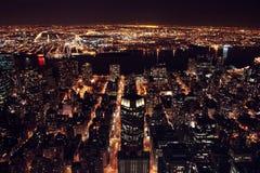 Manhatten na noite Imagens de Stock