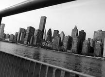 Manhatten, New York City. View of Manhatten through the railings on Roosevelt Island in New York City Stock Photography