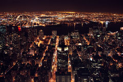 Manhatten at night. View looking over Manhatten at night Stock Images