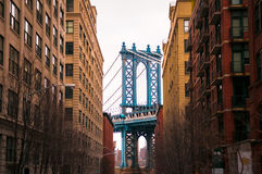 Manhatton bridge, Dumbo, New York. Manhatton bridge shot from Dumbo, New York royalty free stock photo