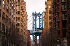 Manhattonbrug, Dumbo, New York Royalty-vrije Stock Foto