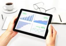 Manhänder med den digitala minnestavlan med affärsdiagrammet, kaffe rånar Royaltyfri Bild