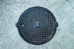 Manhole in the asphalt with cracks Stock Image