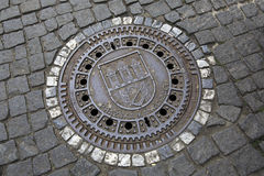 Manhole in the centre of Prague. Royalty Free Stock Photos
