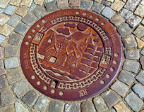 Manhole cover Bergen, Norway Stock Image