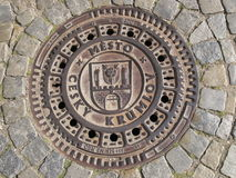 Manhole cover in the Czech Krumlov. Europe. Czech Republic Stock Photos