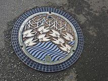 Manhole cover, Himeji, Japan royalty free stock photos