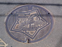 Manhole cover in Hokkaido, Japan. Royalty Free Stock Photo
