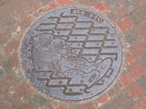 Manhole cover in Hokkaido, Japan. Royalty Free Stock Images