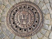 Manhole Cover In The Czech Krumlov Stock Photos