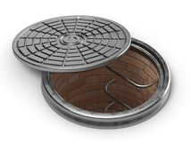 Manhole cover lid. 3D Royalty Free Stock Photos