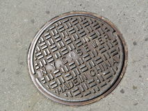 Manhole cover in New York City stock image