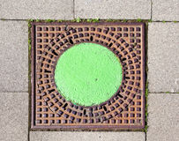 A manhole cover in the street Stock Photography