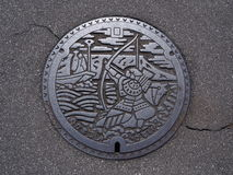 Manhole cover in Takamatsu, Kagawa, Japan. Stock Photography