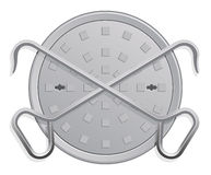 Manhole Cover and two Hooks Royalty Free Stock Images