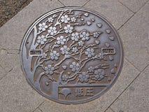 Manhole cover in Ueno park, Tokyo - Japan Royalty Free Stock Photos