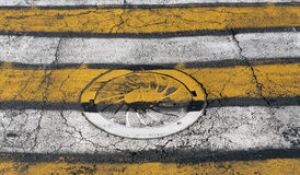 Manhole cover on yellow and white pedestrian crossing. Royalty Free Stock Photography
