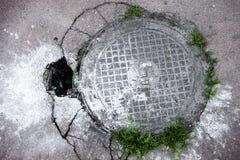 Manhole in cracked asphalt surface Stock Images