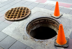 Manhole on the footbath near street Stock Images