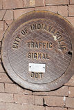 Manhole in Indianapolis Stock Photo