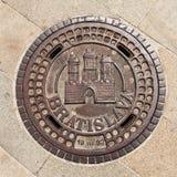 Manhole on Main Square in Bratislava, Slovakia stock images