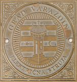Manhole on Main Square in Varazdin, Croatia. Showing the coat of arms of the city and croatian word for sewage royalty free stock photography