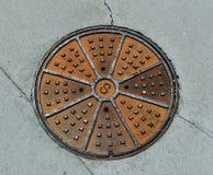 Manhole pokryw kana?u ?ciekowego pokrywa obraz royalty free