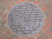 Manhole pokrywa w hokkaidu, Japonia Obrazy Royalty Free