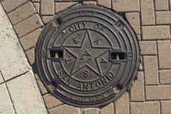 Manhole pokrywa W San Antonio Zdjęcia Stock