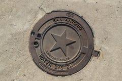 Manhole pokrywa W San Antonio Fotografia Stock