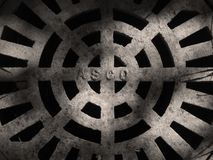 Manhole Seppia. A manhole cover Royalty Free Stock Images