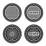 Manhole sewer cover black symbol Royalty Free Stock Photography