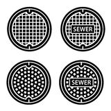 Manhole sewer cover black symbol Royalty Free Stock Photos